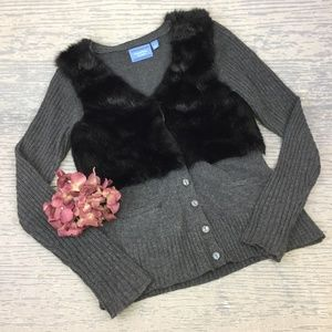 Simply Vera grey cardigan with black fur upper